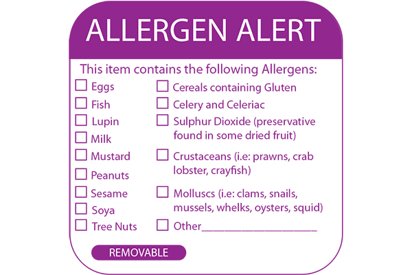 50 Sq Allergy Label