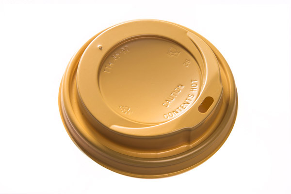 Gold coffee cup lids