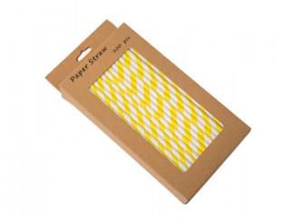 Yellow and White paper straws