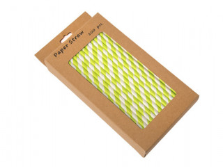 green and white paper straws