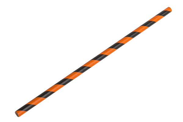 black and orange paper straw