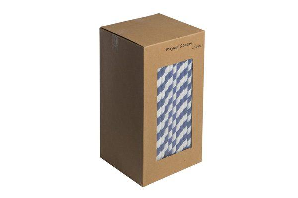 Dark Blue and White Paper Straws 250