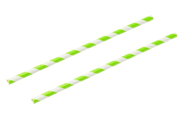 lime white paper straw