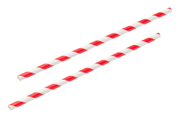 red white paper straw